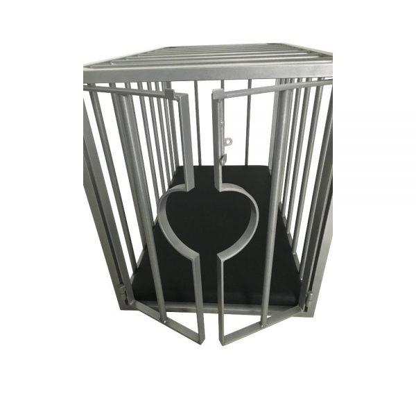 Playroom - Cage métal BDSM pour esclave / doggy démontable - portes ouvertes