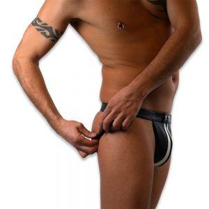 Cuir - Une production Rex - Jockstrap en cuir à ceinture fine et zip profil