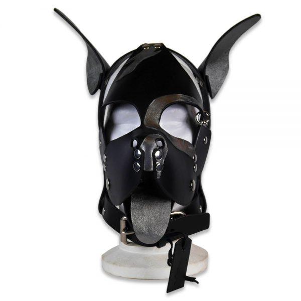 Cuir - Une production Rex - Tête de chien cuir, cuir noir et argent sur mesure - Face