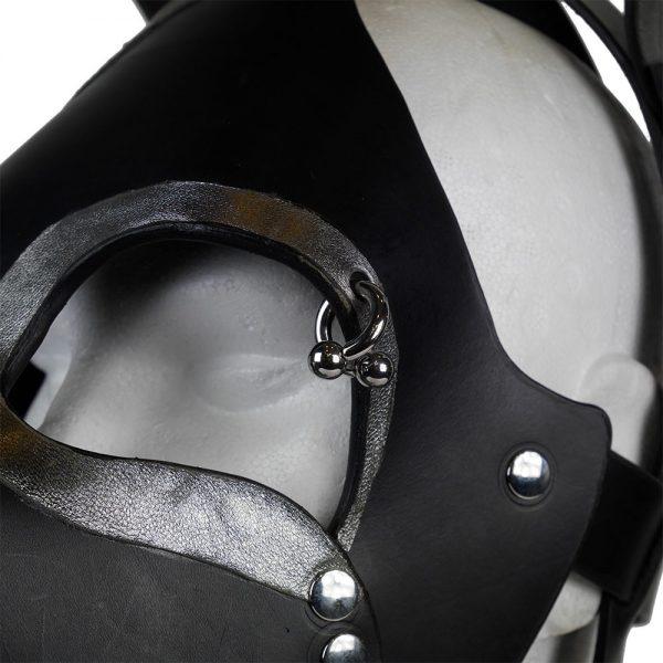 Cuir - Une production Rex - Tête de chien cuir, cuir noir et argent sur mesure - Détails