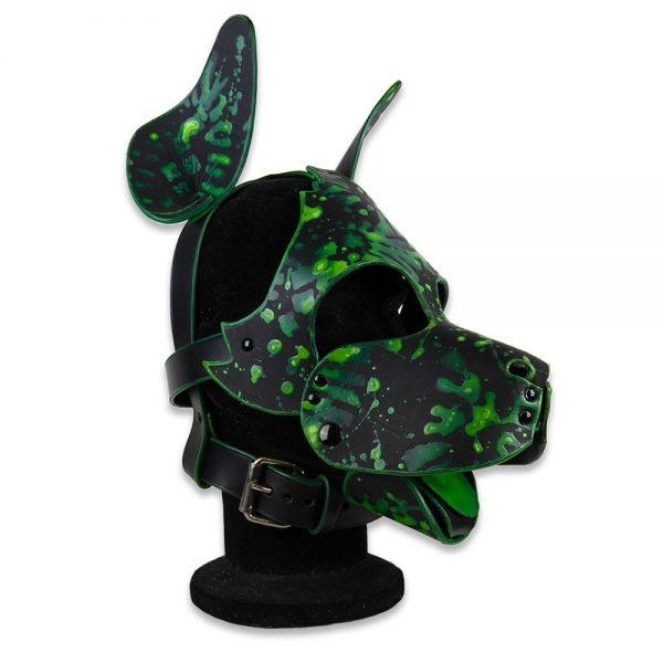 Cuir - Une production Rex - Tête de chien cuir, motif fluo sur cuir noir sur mesure - Profil