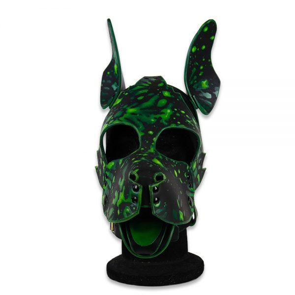 Cuir - Une production Rex - Tête de chien cuir, motif fluo sur cuir noir sur mesure - Face