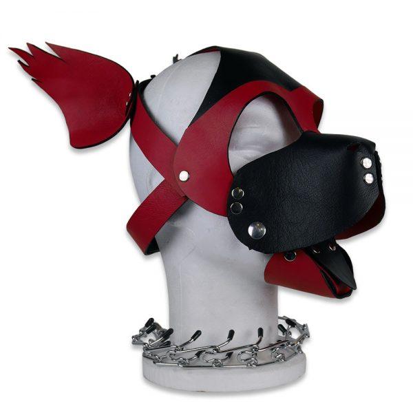 Cuir - Une production Rex - Tête de chien cuir, noir sur rouge - Profil