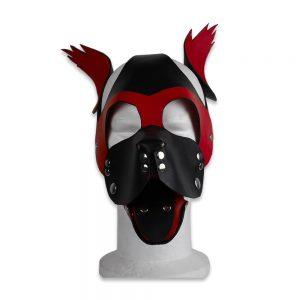 Cuir - Une production Rex - Tête de chien cuir, noir sur rouge - Face