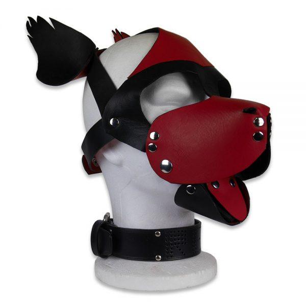 Cuir - Une production Rex - Tête de chien cuir, rouge sur noir - Profil