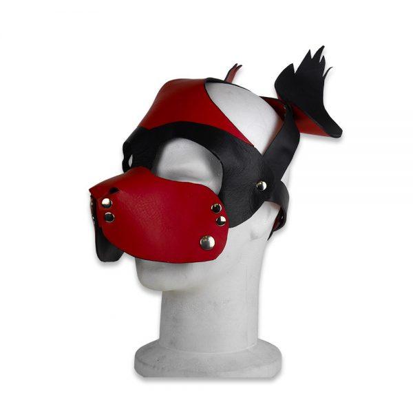 Cuir - Une production Rex - Tête de chien cuir, rouge sur noir - Mandibule ôtée